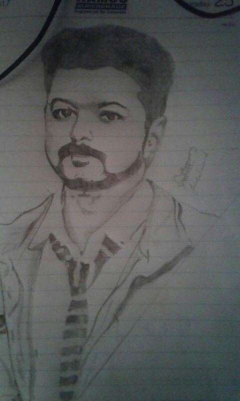 Vijay Pencil Sketch Pencil Sketch Sketches Line Sketch
