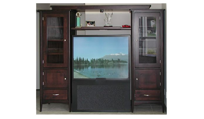 Sophia Entertainment Unit. Available in 6 different stains of hardwood. For more information visit www.portfoliointeriors.ca/brand/canadian-wood-manufacturing