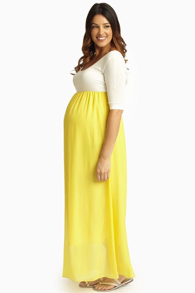 Yellow-Chiffon-Colorblock-Maternity-Maxi-Dress