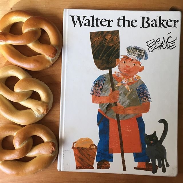 Up next in our day...reading Walter the Baker by Eric Carle and eating pretzels while we listen to the read aloud. If I didn't have a little one feeling under the weather, we would have been bakers ourselves and made homemade pretzels. A perfect activity