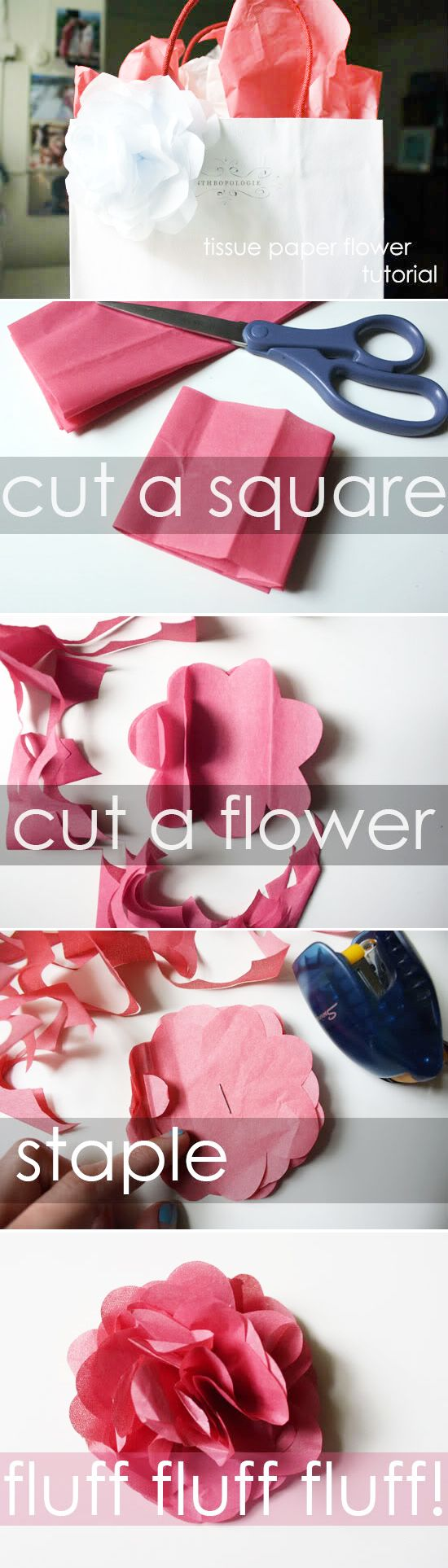 Add a little flower power to any gift sack to make a statement that is simple and sweet!: Gift Ideas, Tissue Paper Flowers, Tissue Flower, Flower Tutorial, Diy Gift Bag