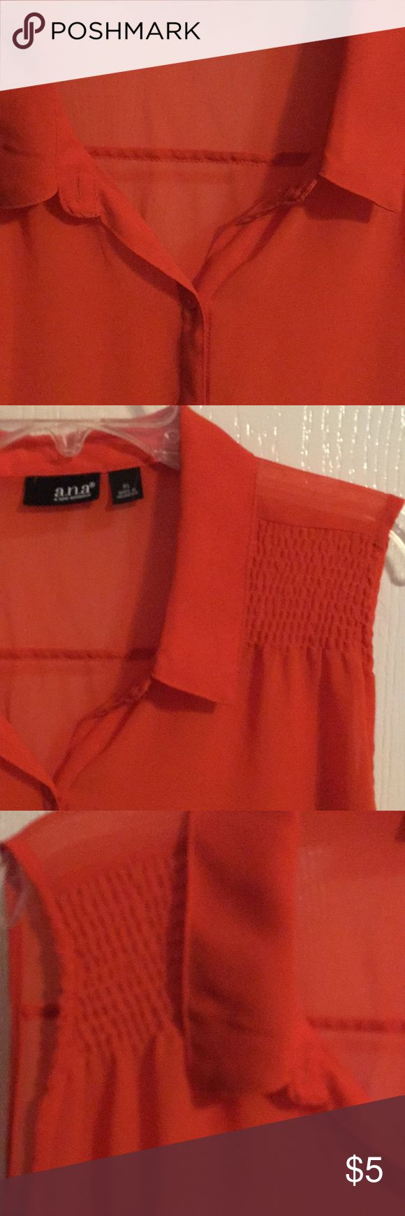 a.n.a. BUTTON UP TUNIC Orange button up sleeveless top. Back is longer than front. It is see thru. A cami or cute bra Leyte. Very nice condition. Size XL a.n.a Tops Tunics