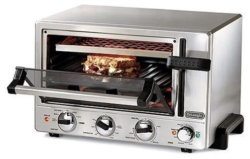 "Delonghi Panini Toaster Oven - Frontgate traditional toasters.  $249.00.  This sleek, multi-functional oven is large enough to hold a 12"" pizza, bake an entree, or toast up to six slices of bread.  Bake, broil, toast, slow bake, panini press, and warm."
