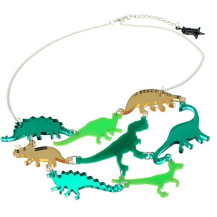 Dinosaur Necklace //  Green OR Pink Mirror acrylic dinosaur statement necklace // Laser cut dinosaur jewellery