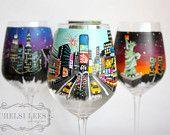 Times Square Wine Glass - New York - NY- 1 Wine Glass