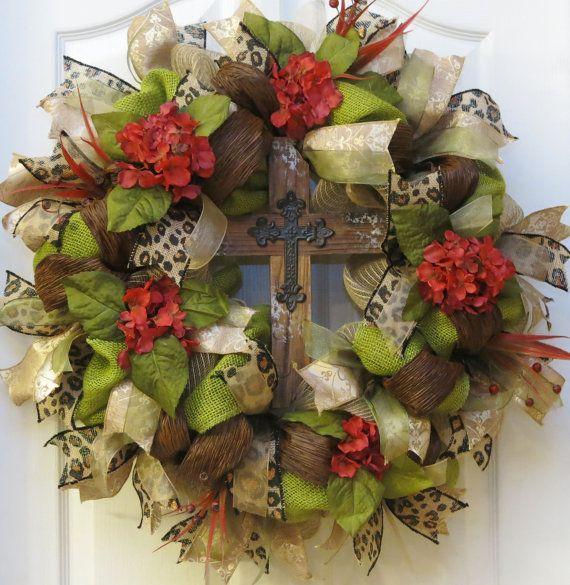 Cross Wreath Burlap Cross Wreath Red Hydrangea by PinkBluebonnet