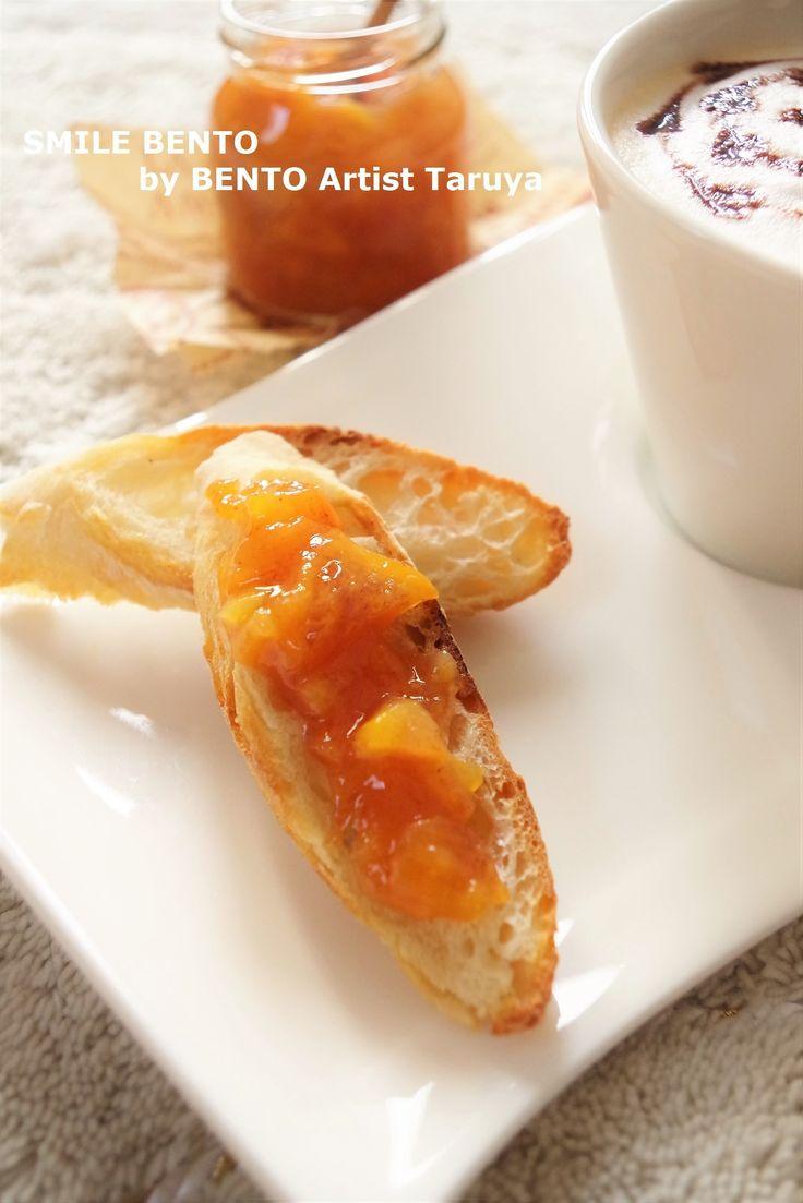 柿ジャム~すだち風味~ by Taruya Tomoko / 柿が苦手な我が家。せっかくいただいた柿だったのでジャムにしたら大好評。お湯+柿ジャムでホットにしてもおいしくいただけます。 / Nadia