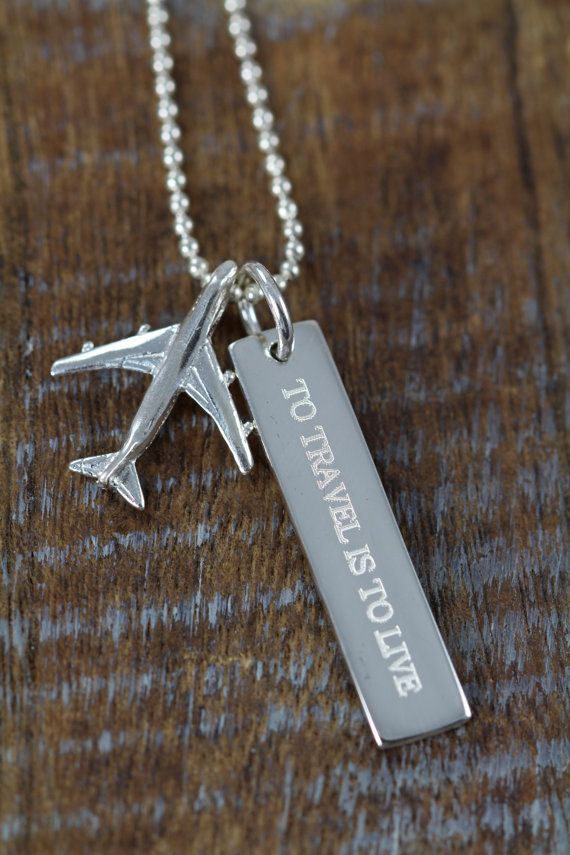 Travel Airplane Necklace Engraved by ShinyLittleBlessings on Etsy