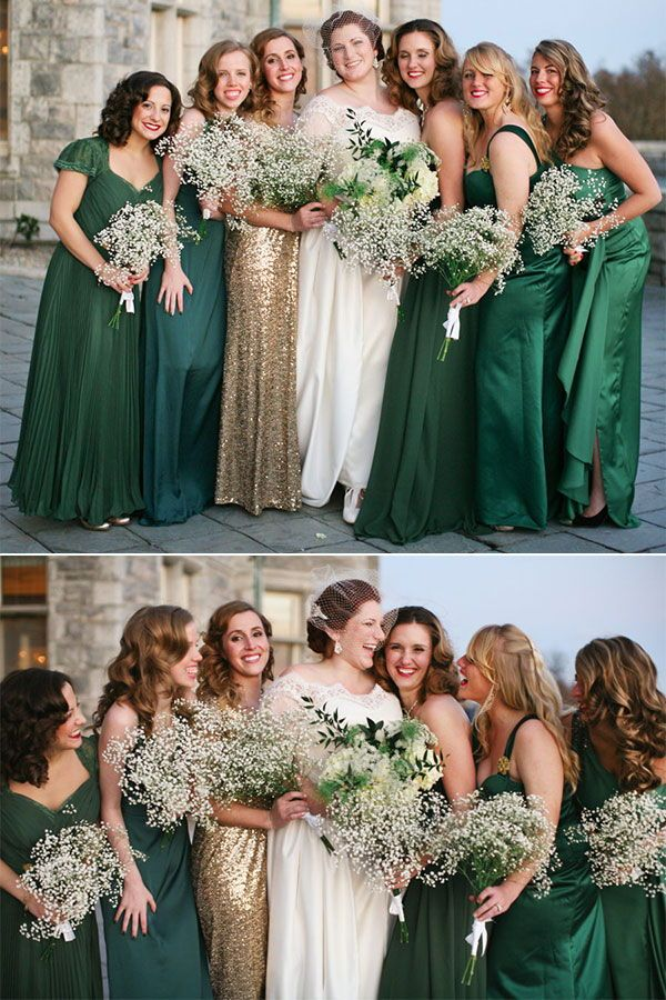Mix And Match Bridesmaid Dresses Done Right 7 Ways To Rock The Trend Mismatched Green Bridesmaid Dresses Mixed Green Bridesmaid Dresses Different Bridesmaid Dresses