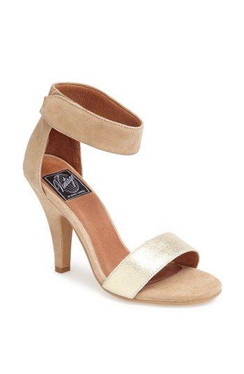 Jeffrey Campbell Foxtrot Sandal ... buff beige & gold ankle strap heels