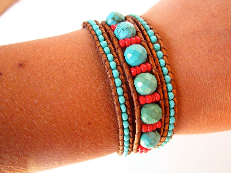Faceted Arizona turquoise and czech glass beaded leather wrap bracelet. Southwester 3 wrap leather bracelet.. $57.00, via Etsy.