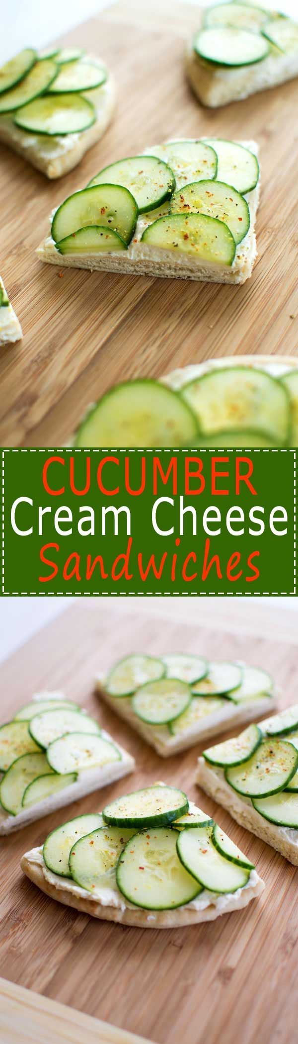 Cucumber Cream Cheese Sandwiches with zesty cream cheese and crisp cucumbers on…