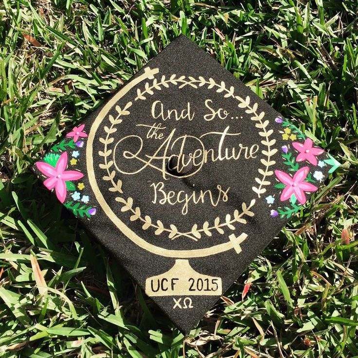 Graduation cap globe world floral quote