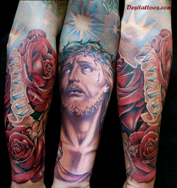 Jesus tattoo Catholic the Passion of Christ roses suffering the crown of thorns