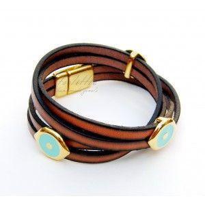 Brown Double-Wrap Eyes Toolittle Bracelet #leather bracelet