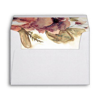 #Burgundy Fall Flowers Watercolor Wedding Envelope - #Wedding #Printed & #Mailing #Envelopes #weddinginvitations #wedding #invitations #party #card #cards #invitation