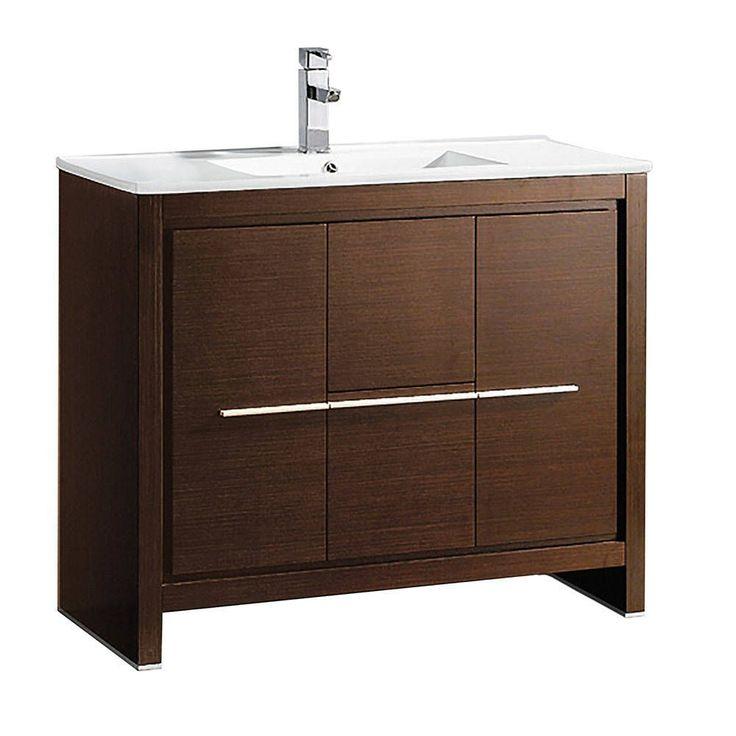 """Fresca Allier 40"""" Wenge Brown Modern Bathroom Cabinet w/ Sink (Allier 40"""" Modern Bathroom Cabinet w/ Sink), Size Single Vanities"""