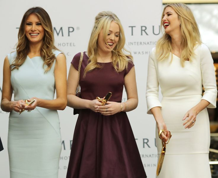 Tiffany Trump Photos Photos - (L-R) Melania Trump, wife of Republican presidential nominee Donald Trump, and his daughters Tiffany Trump and Ivanka Trump laugh after cutting the ribbon at the new Trump International Hotel October 26, 2016 in Washington, DC. The hotel, built inside the historic Old Post Office, has 263 luxry rooms, including the 6,300-square-foot 'Trump Townhouse' at $100,000 a night, with a five-night minimum. The Trump Organization was granted a 60-year lease to the…