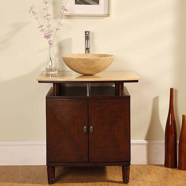 Silkroad Exclusive Travertine Stone Top 29 Inch Bathroom Vanity By Silkroad  Exclusive. Vessel Sink ...