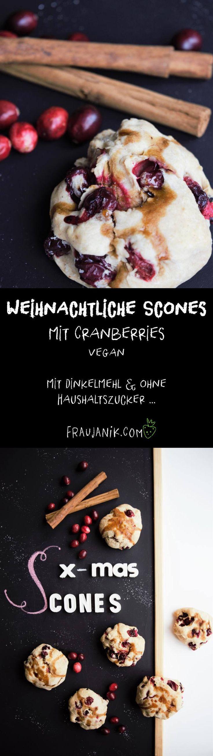 Weihnachtliche Scones mit Cranberries | vegan 🎄 - gesund, mit Dinkelmehl & ohne Haushaltszucker ... Hmm weihnachtliche Scones mit Cranberries und Zimt, so steht man doch gerne auf für ein leckeres Weihnachtsfrühstück oder? Mit Dinkelmehl, gesunder Kokosnussmilch und das Beste: Super schnell zubereitet! #weihnachten #scones #vegan #cranberries #zimt #weihnachtsgebäck #gesundbacken #backen #gesund