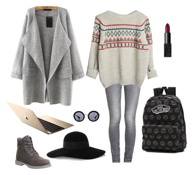 """cara05"" by ocrapschorkcytapunkap on Polyvore featuring GUESS, Timberland, Vans, Eugenia Kim, Miu Miu and NARS Cosmetics"