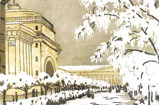 Admiralty under the snow, 1909 by Anna Ostroumova-Lebedeva. Art Nouveau (Modern). cityscape