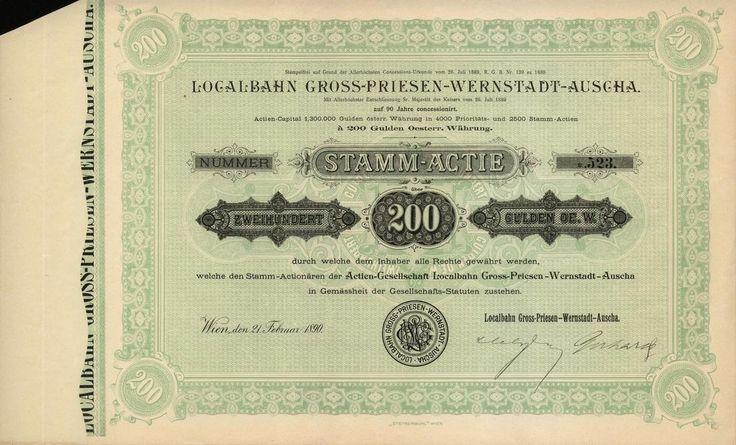 Localbahn Gross-Priesen-Wernstadt-Auscha (Místní dráha Velké Březno-Verneřice-Úštěk). Kmenová akcie na 200 Zlatých. Vídeň, 1890.