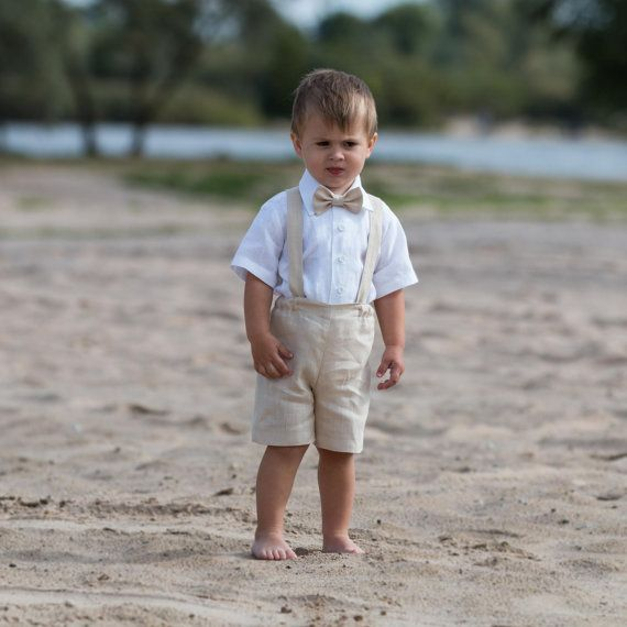 Ring Bearer Outfit Baby Boy Baptism Clothes Linen Suit First Birthday Shorts With Suspenders Wedding Formal Wear Light Beige