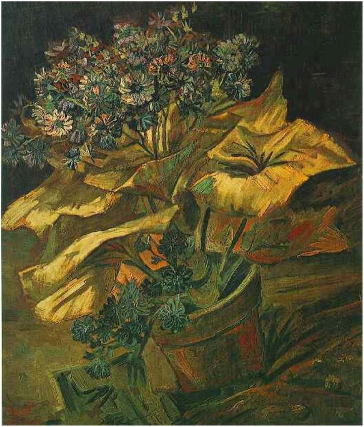 Vincent van Gogh: Cineraria in a Flowerpot. Painting, Oil on Canvas. Paris, France: July - August, 1886. Museum Boymans van Beuningen Rotterdam, The Netherlands, Europe