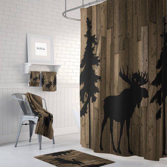 Rustic Woodland Moose Trees Faux Wood Shower Curtain Bath Mat