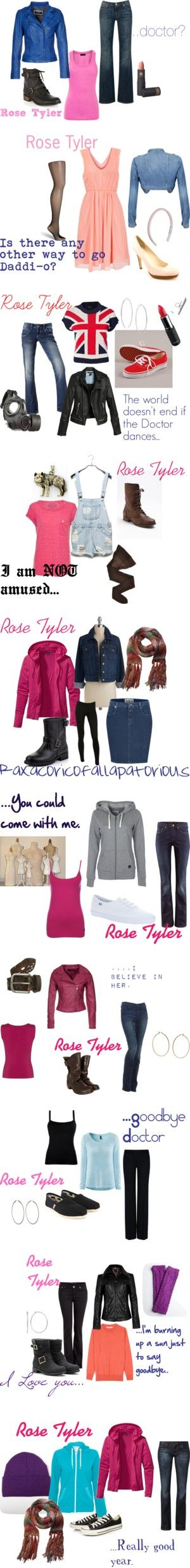 "I basically love all of these outfits!! :) ""Rose Tyler..the Bad Wolf"" by maddiebrashier on Polyvore"