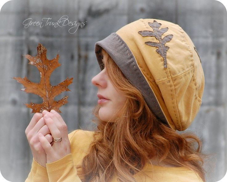 Yellow Oak Slouchy Hat Beanie Recycled Tshirt. I love this hat