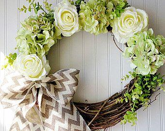 Silk Flower Wreath Pink Wreath Spring Wreath by WaukeeCreations