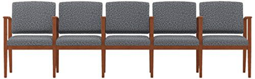 Lesro Amherst Wood 5 Seats with Center Arms in Cherry Finish, Tendril Raven