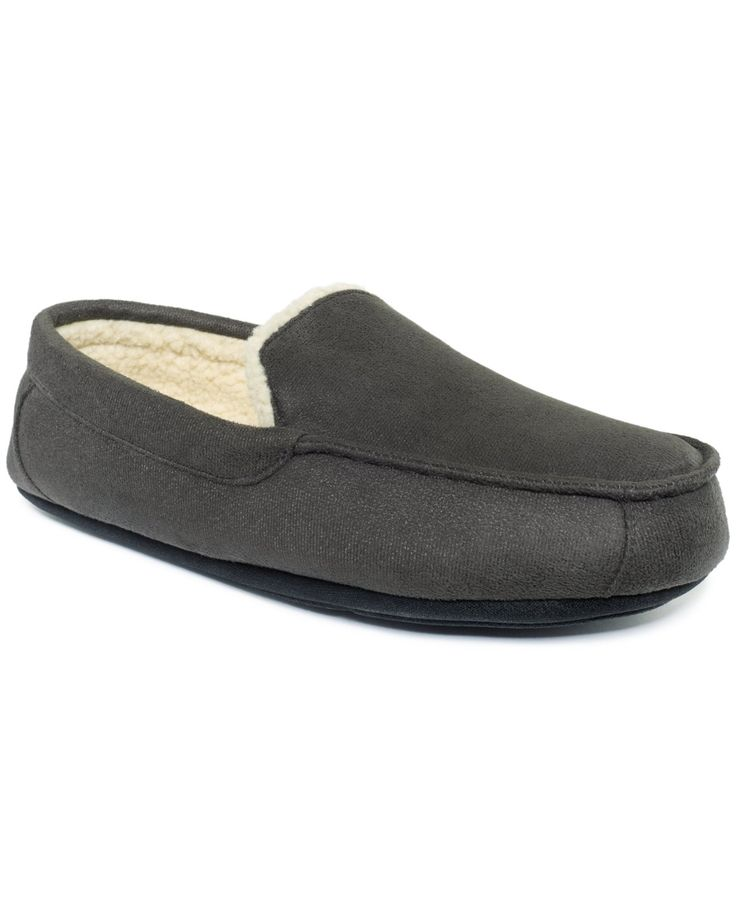 Club Room Men's Slippers, Evan Suede Sherpa-Lined Wool Loafers - Slippers - Men - Macy's SIZE LARGE