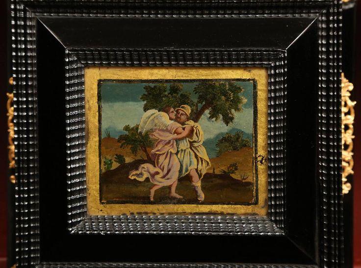 Итальянский 18 век Людовика XIV негр и обратного окрашенный стеклянный шкаф на стенд 7