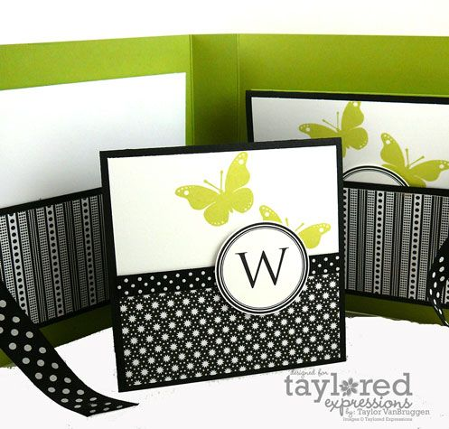handmade card: ManyMarvelousMonograms4 ... notecard set ... black and white with a pop of chartreuse ... luv the bright black and white patterned papers used ... Taylored Expressions ...