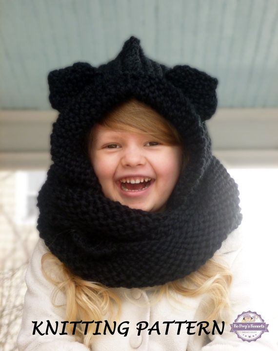 KNITTING PATTERN Hooded Cat Ears Cowl Scarf, Cat Scarf Knitting Pattern, Anim...
