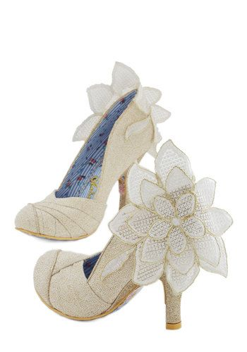 A Sight for Adoring Eyes Heel by Irregular Choice - High, Cream, Solid, Flower, Special Occasion, Prom, Wedding, Party, Holiday Party, Bride, Luxe, Statement, Quirky, Best