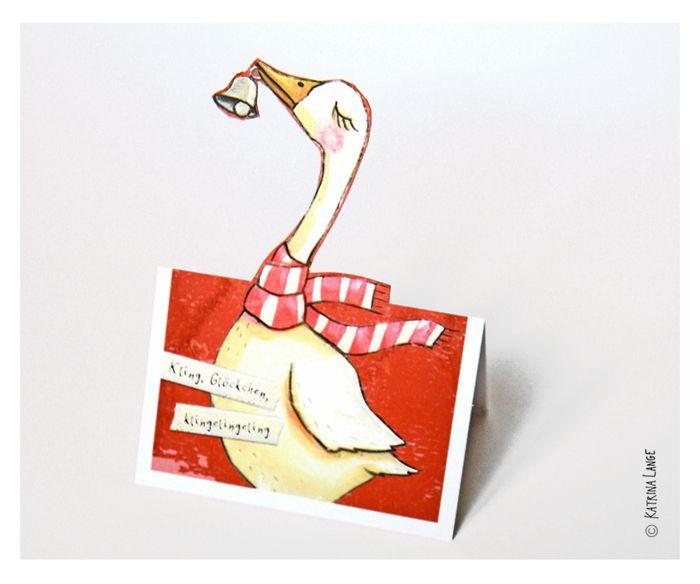 """Weihnachtskarten - 5 x Bastel-Postkarte """"Gans"""" - ein Designerstück von KatrinaLange bei DaWanda"""