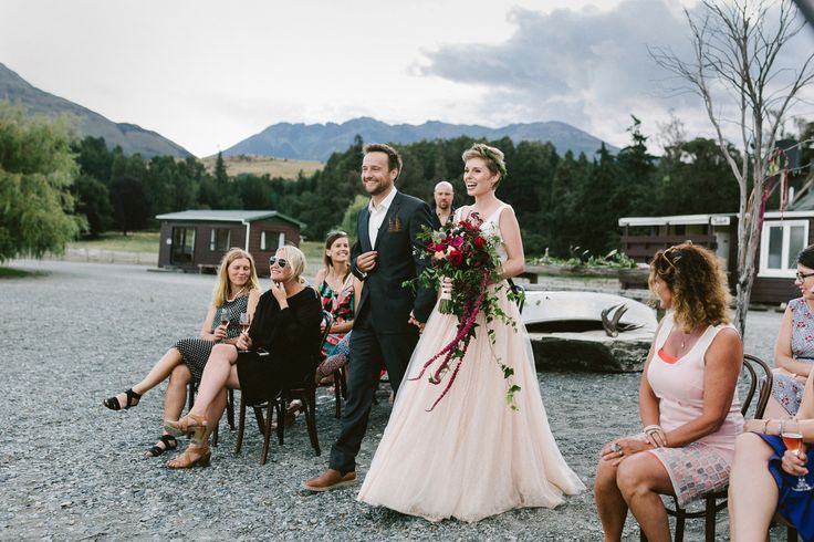 The beautiful ceremony of Alex & Lisa of @2people1life.  Delighted to dress both the beautiful #bride & the handsome #groom! #queenstown #newzealand #wedding @emilyadamson photography  / @nemoworkroom dress and suit http://2people1life.com/blog/
