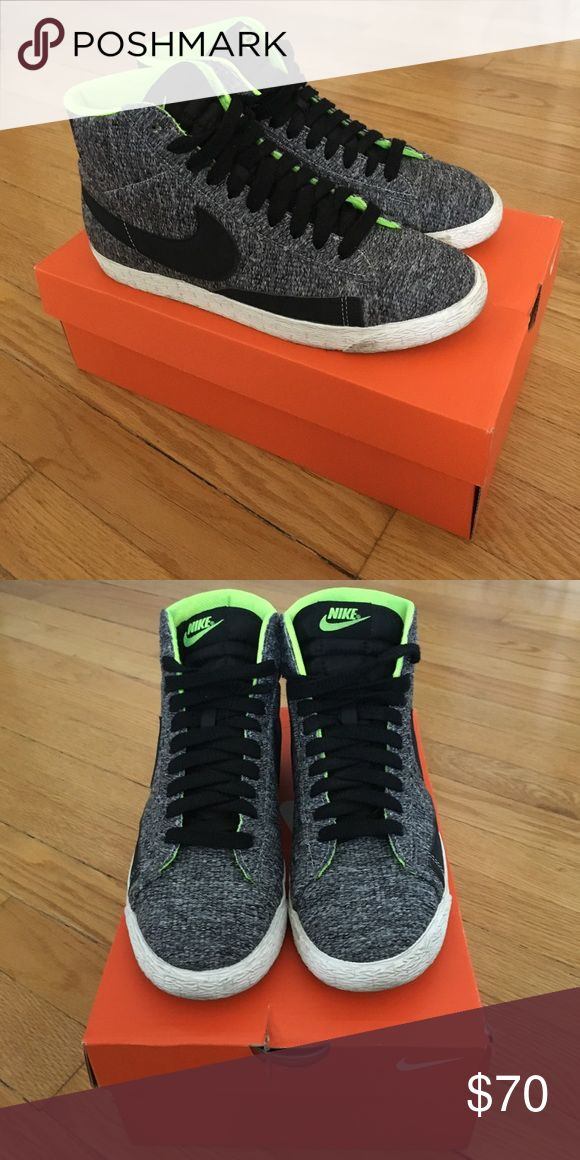Nike hi tops Nike hi top sneakers. Marled black and gray fabric. Neon green accents. Textured sole. Nike Shoes Sneakers