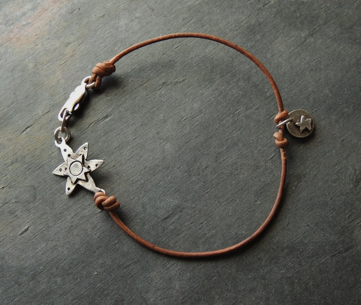 25% OFF SALE Leather, Artisan Silver Anklet Bracelet, Artisan Jewelry, Rustic Handcrafted, Sundance Style. $24.00, via Etsy.