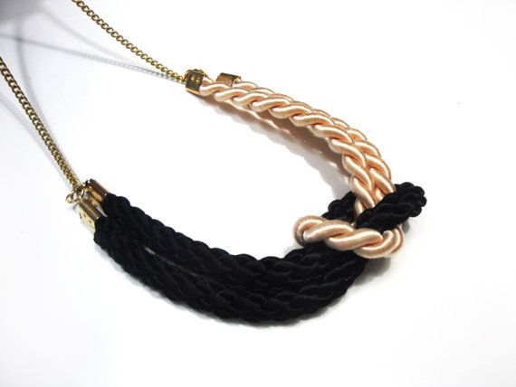 Square knot necklace in black and cream satin cords