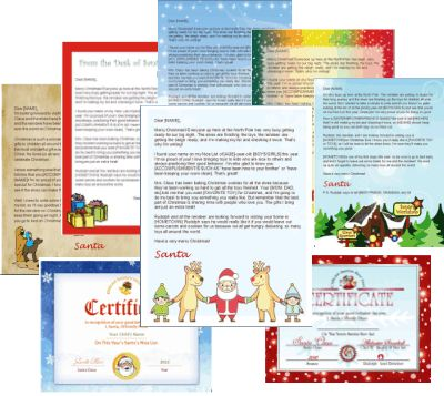 Downloadable Santa letter template package includes 6 backgrounds, 3 envelopes, 2 Nice List certificates and text for three different letters. Mix and match to create multiple Santa letters!