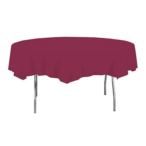 Burgundy Round Plastic Table Cover