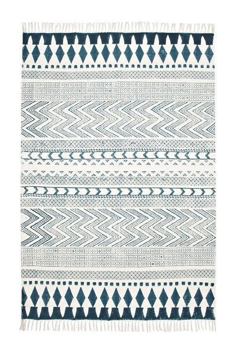 Navy Blue and Ivory rug $75  http://www.frenchconnection.com/product/862D0/Block+Printed+Rug.htm