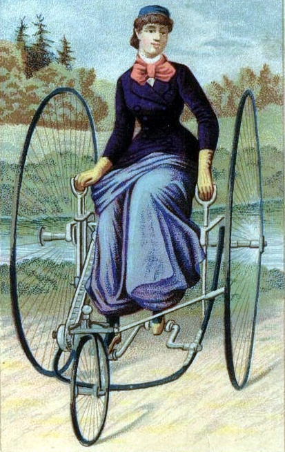 The front-steering lever-drive tricycle, ca. 1880s. You can see how women could ride them without the need to amend their costume.