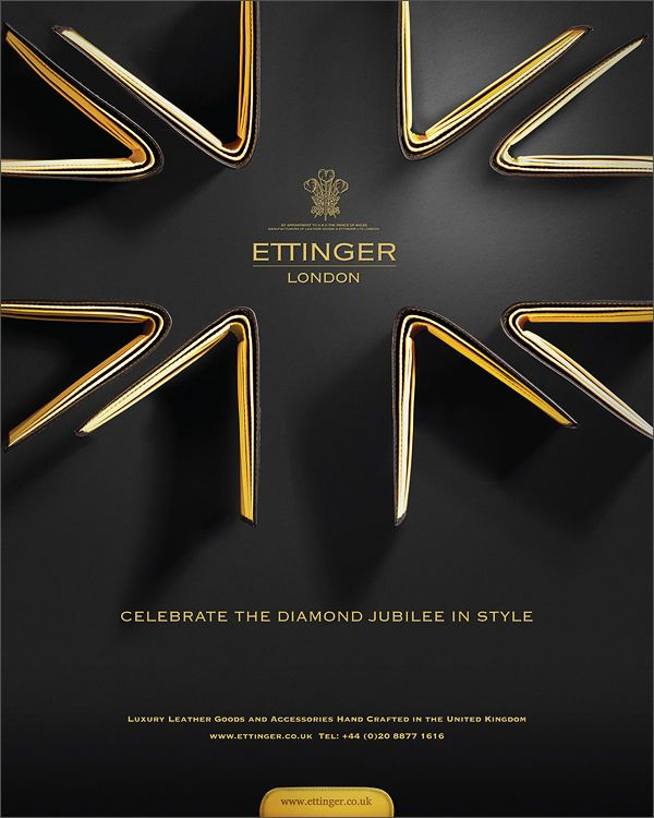 Ettinger Diamond Jubilee advert by DNA Advertising. A gold award has been won by DNA Advertising Ltd for its recent advertising concept for Ettinger, a London-based designer, manufacturer, e-retailer and Royal Warrant holder of luxury leather goods and accessories.