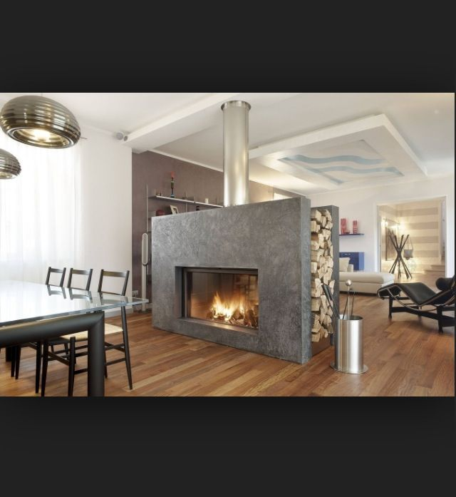 Fireplace In The Middle Of Room Home Pinterest